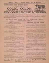 Advert For Jem Cooks Horse Powder